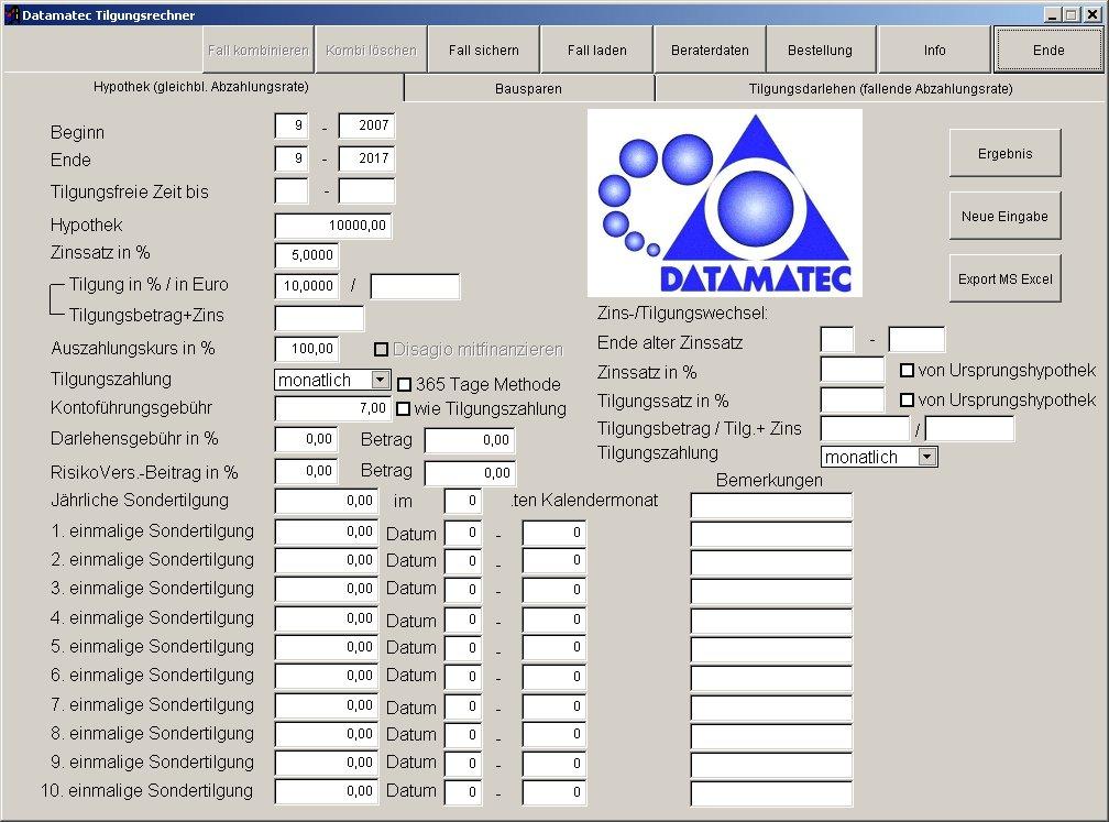 Datamatec Tilgungsrechner